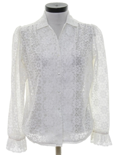 1980's Womens Totally 80s Lace Shirt