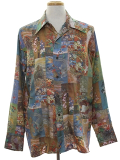 1970's Mens Photo Print Disco Shirt