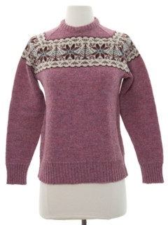 1980's Womens Vintage Snowflake Ski Sweater