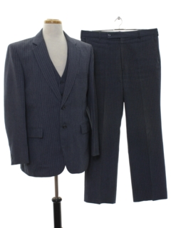 1980's Mens Matching 3 Piece Pinstripe Suit