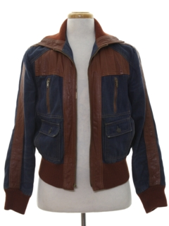 1970's Mens Denim Leather Jacket