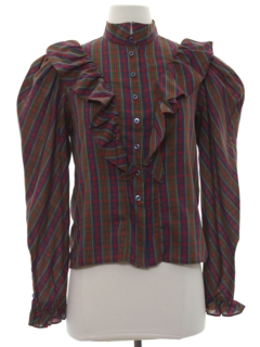 1980's Womens Totally 80s Ruffled Front Prairie Style Shirt