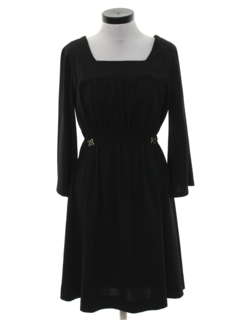 1970's Womens Black Knit Dress
