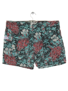 1980's Mens Reverse Print Hawaiian Board Shorts