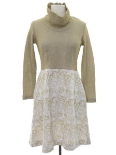 1960's Womens Mod Knit Cocktail Dress