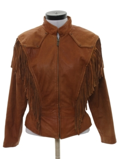 1980's Womens Totally 80s Fringe Leather Jacket
