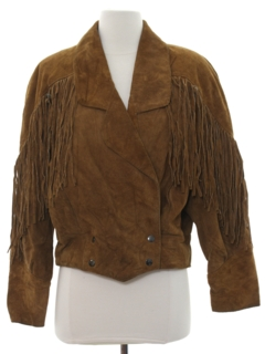 1980's Womens Totally 80s Fringe Suede Leather Jacket