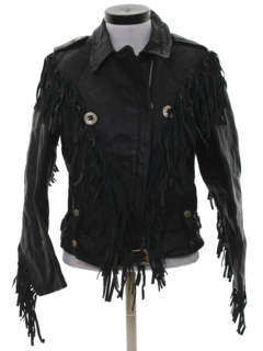 1980's Womens Totally 80s Fringe Leather Motorcycle Style Jacket