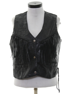 1990's Womens Wicked 90s Fringed Motorcycle Leather Vest Jacket