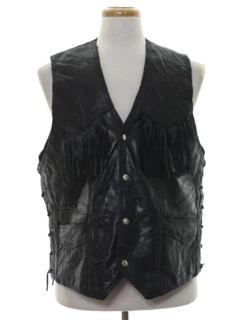 1990's Mens Wicked 90s Fringed Motorcycle Leather Vest Jacket
