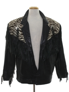 1980's Mens Totally 80s Fringe Leather Jacket
