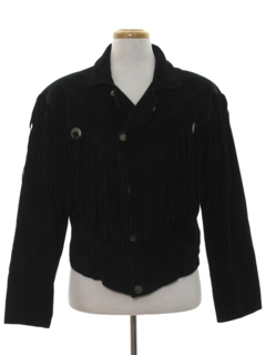 1980's Mens Totally 80s Fringe Suede Leather Jacket