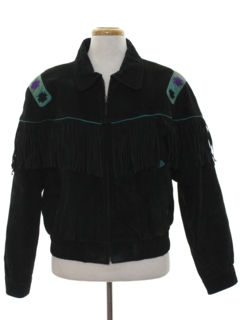 1980's Mens Western Fringed Suede Leather Jacket