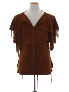 1990's Unisex Suede Leather Shirt Jacket