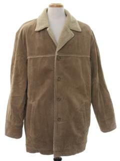 1980's Mens Leather Car Coat Jacket
