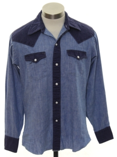 1960's Mens Western Chambray Shirt