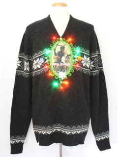 1980's Unisex Multicolor Lightup Krampus Ugly Christmas Sweater