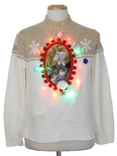 1980's Unisex Vintage Multicolor Lightup Catmus Ugly Christmas Sweater