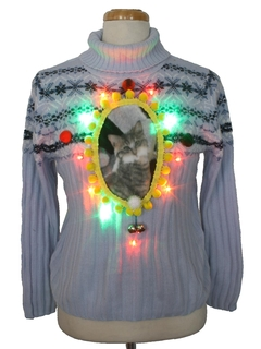 1990's Unisex Vintage Multicolor Lightup Catmus Ugly Christmas Sweater