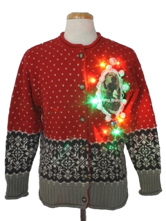 1990's Womens Multicolor Lightup Krampus Ugly Christmas Sweater