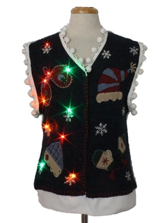 1980's Unisex Hand Embellished Multicolor Lightup Ugly Christmas Sweater Vest