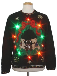 1980's Unisex Multicolor Lightup Bearrific Ugly Christmas Sweater