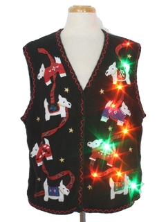 1980's Womens Multicolor Lightup Dog - gonnit Ugly Christmas Sweater Vest