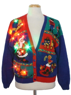 1980's Womens Multicolor Lightup Ugly Christmas Cardigan Sweater