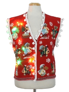 1980's Womens Hand Embellished Multicolor Lightup Ugly Christmas Sweater Vest