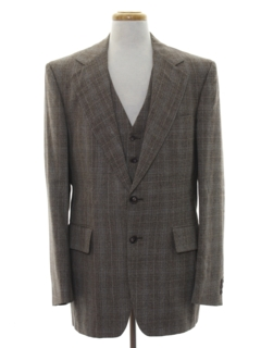 1970's Mens Matching Disco Blazer Sport Coat Jacket And Vest