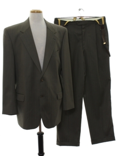 1980's Mens Matching 2 Piece Wool Pinstriped Suit