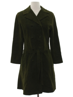 1970's Womens Mod Suede Coat Dress