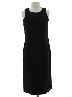 1980's Womens Little Black Wool Sheath Dress