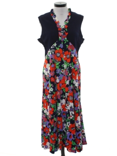 1960's Womens Pow Flower Maxi Hippie Dress