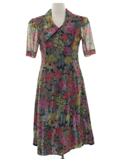 1980's Womens Totally 80s Floral Dress