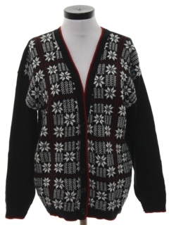 1980's Womens Totally 80s Snowflake Ski Cardigan Sweater