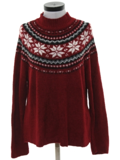 1990's Womens Vintage Snowflake Ski Sweater