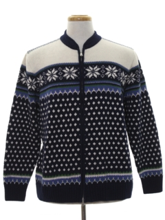 1990's Mens Vintage Snowflake Ski Sweater