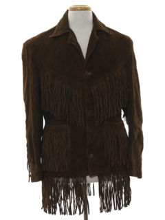 1960's Mens Hippie Fringed Suede Leather Jacket