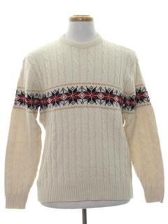 1980's Mens Vintage Snowflake Ski Sweater