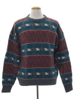 1980's Mens Totally 80s Wool Cosby Style Sweater