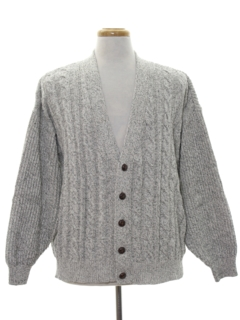1980's Mens Cable Knit Cardigan Sweater
