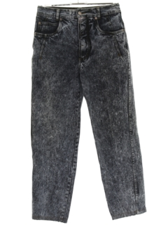 1980's Mens Totally 80s Acid Washed Tapered Denim Jeans Pants