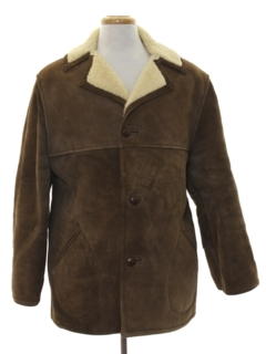 1980's Mens Suede Leather Car Coat Jacket