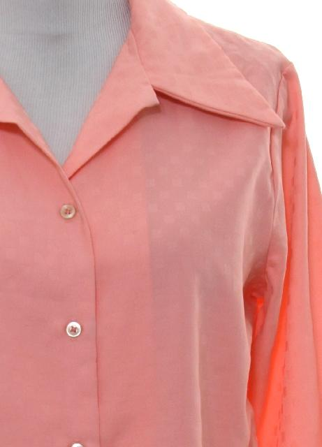202f6416 JcPenney 70's Vintage Disco Shirt: 70s -JcPenney- Womens coral background  slinky polyester button cuff longsleeve button up front solid disco shirt  with ...