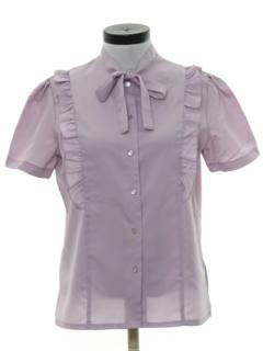 1980's Womens Ruffled Front Secretary Shirt