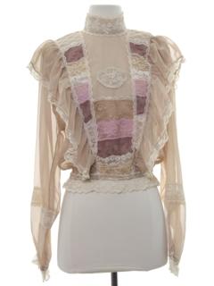 1980's Womens Ruffled Front Prarie Shirt