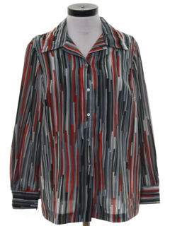1970's Womens Print Disco Inspired Shirt