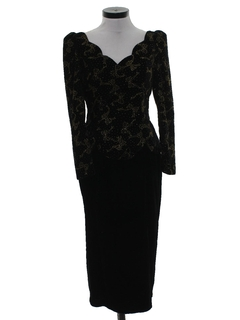 1990's Womens Velvet Wicked 90s Maxi Prom Or Cocktail Dress