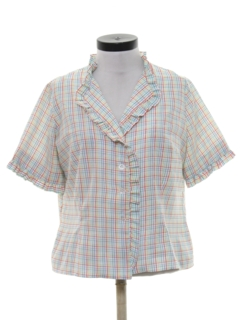 1980's Womens Ruffled Front Shirt